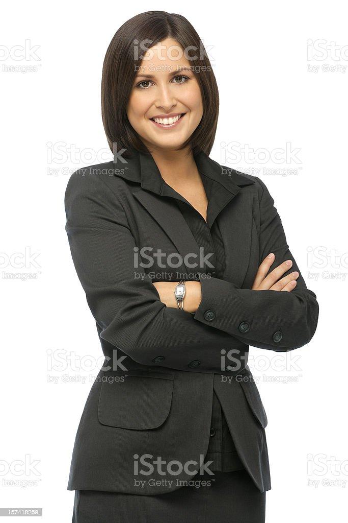 Fiducioso donna d'affari su sfondo bianco - foto stock