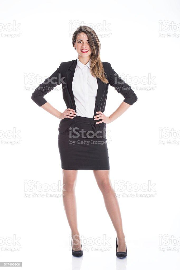 Confident Businesswoman on White stock photo