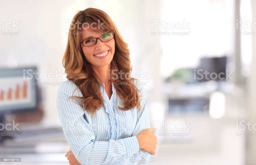 Confident businesswoman portrait stock photo