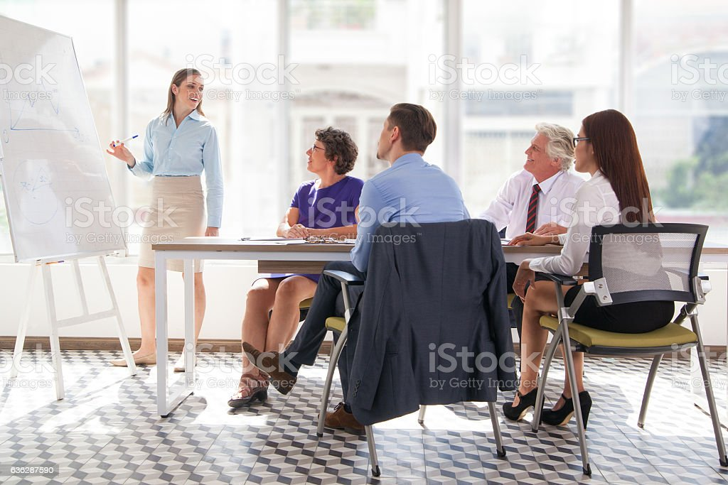 Confident businesswoman presenting project to team stock photo