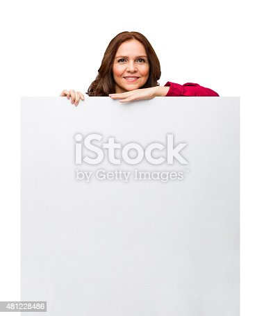 1132314350 istock photo Confident businesswoman showing placard 481228486