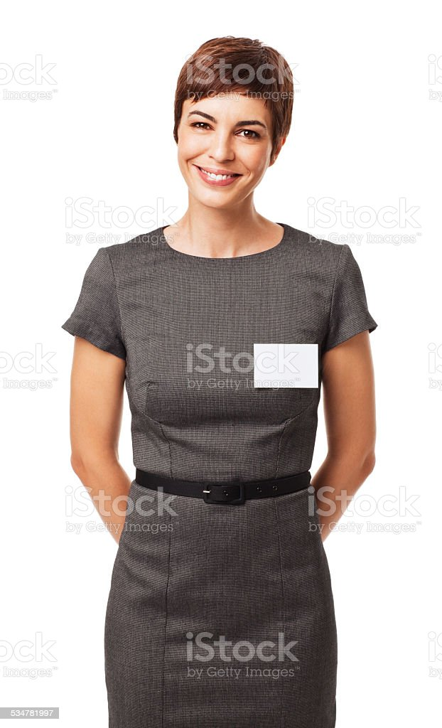 Confident Businesswoman Wearing Name Tag stock photo