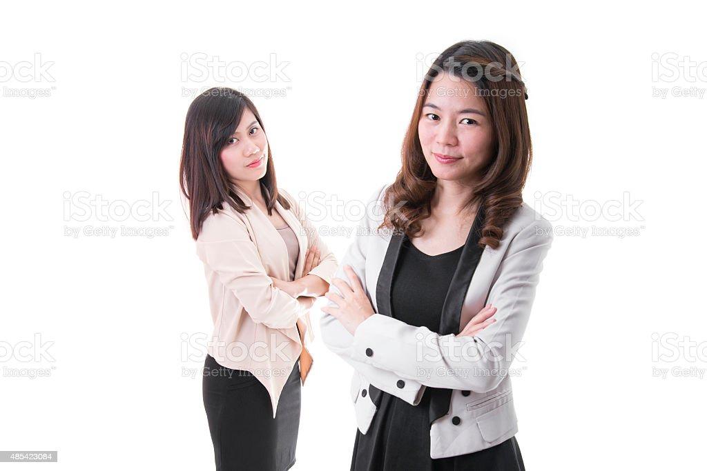 Confident Businesswomen On White Background royalty-free stock photo