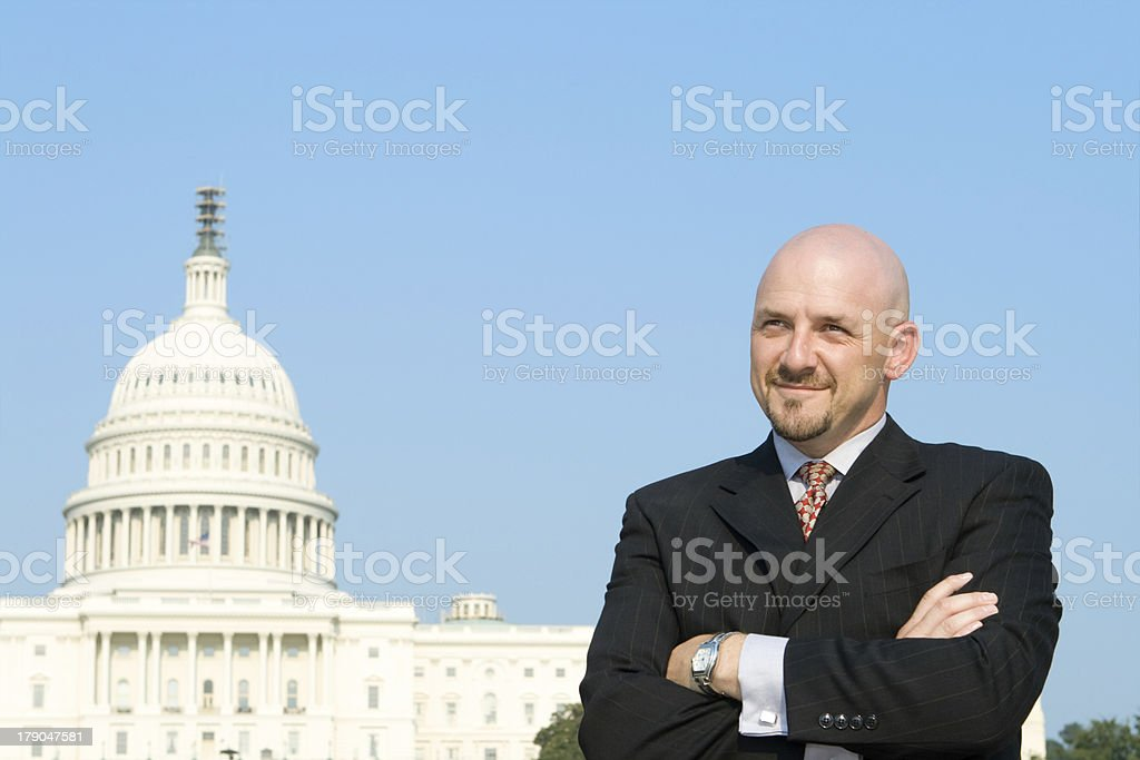 Confident Caucasian Man Lobbyist Suit, U.S. Capitol Building, Washington DC royalty-free stock photo