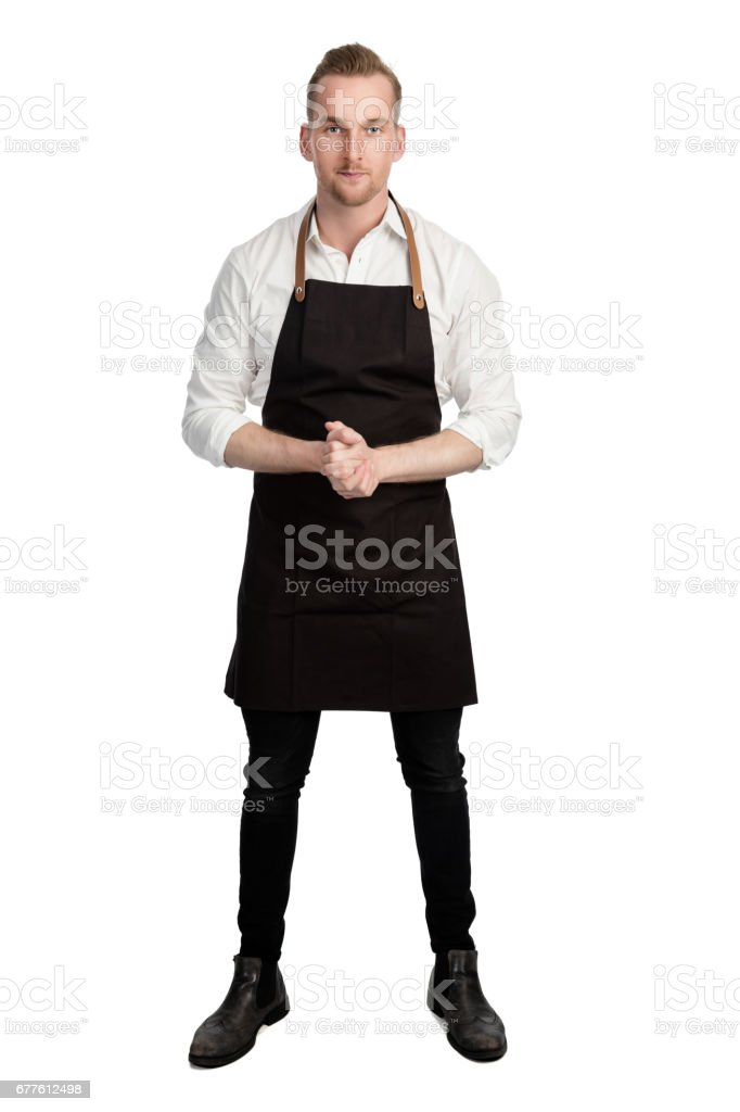 Cтоковое фото Confident chef in white shirt and black apron