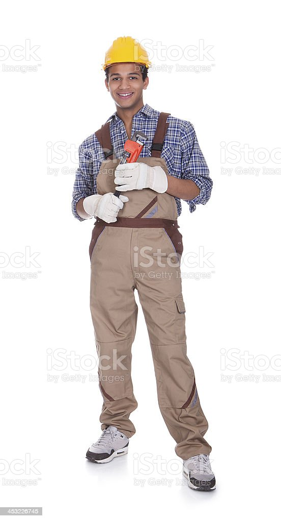 Confident construction worker stock photo