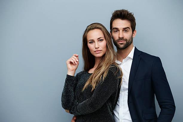 Confident couple in smart clothing, portrait – Foto