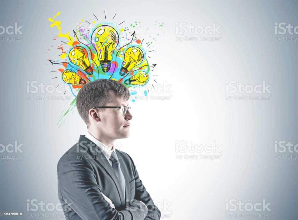 Confident cross armed businessman, creativity royalty-free stock photo