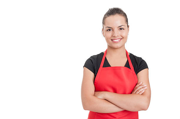 Confident cute employee standing with folded arms – Foto