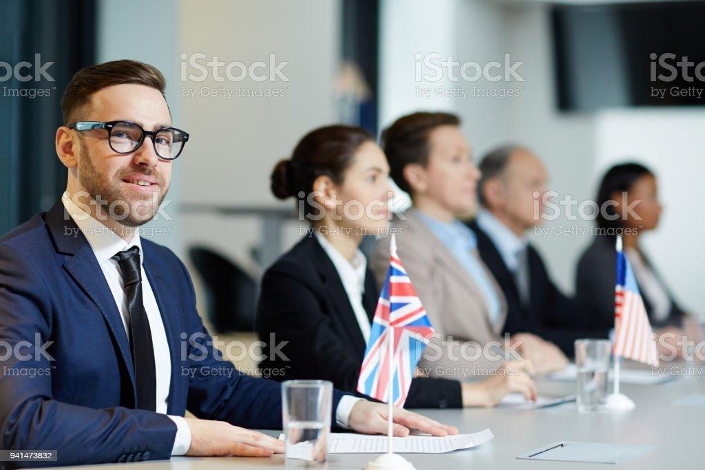 Confident delegate stock photo