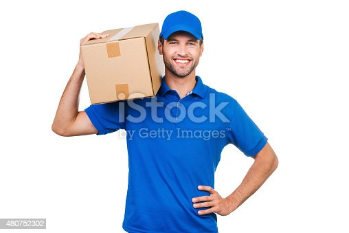 istock Confident delivery man. 480752302