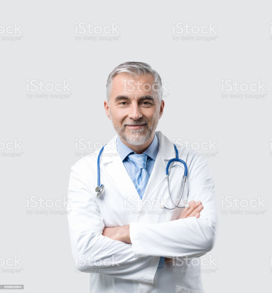 Confident doctor posing stock photo