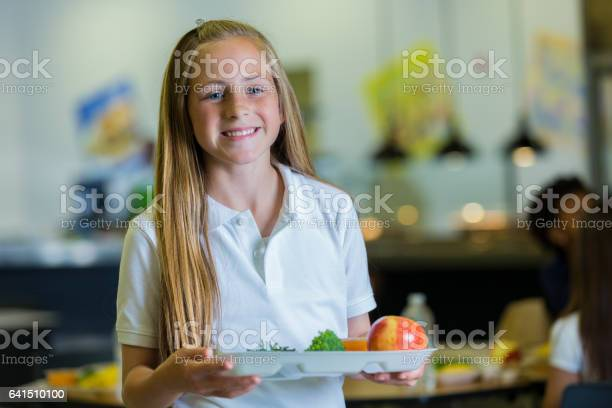 Confident elementary student with healthy lunch in cafeteria picture id641510100?b=1&k=6&m=641510100&s=612x612&h=xokne voenqjazry3pvpgumw4v 3vaurs9u2p5q05tq=