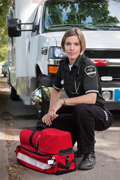 Confident EMS Paramedic Woman stock photo