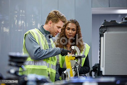 941796726istockphoto Confident engineers discussing over car chassis 1127292949