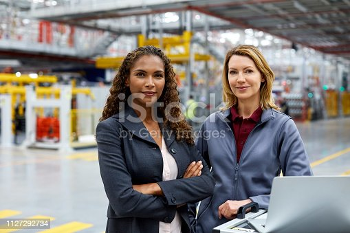 istock Confident engineers with laptop at car plant 1127292734