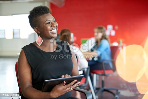 istock Confident female designer working on a digital tablet in red 514796238