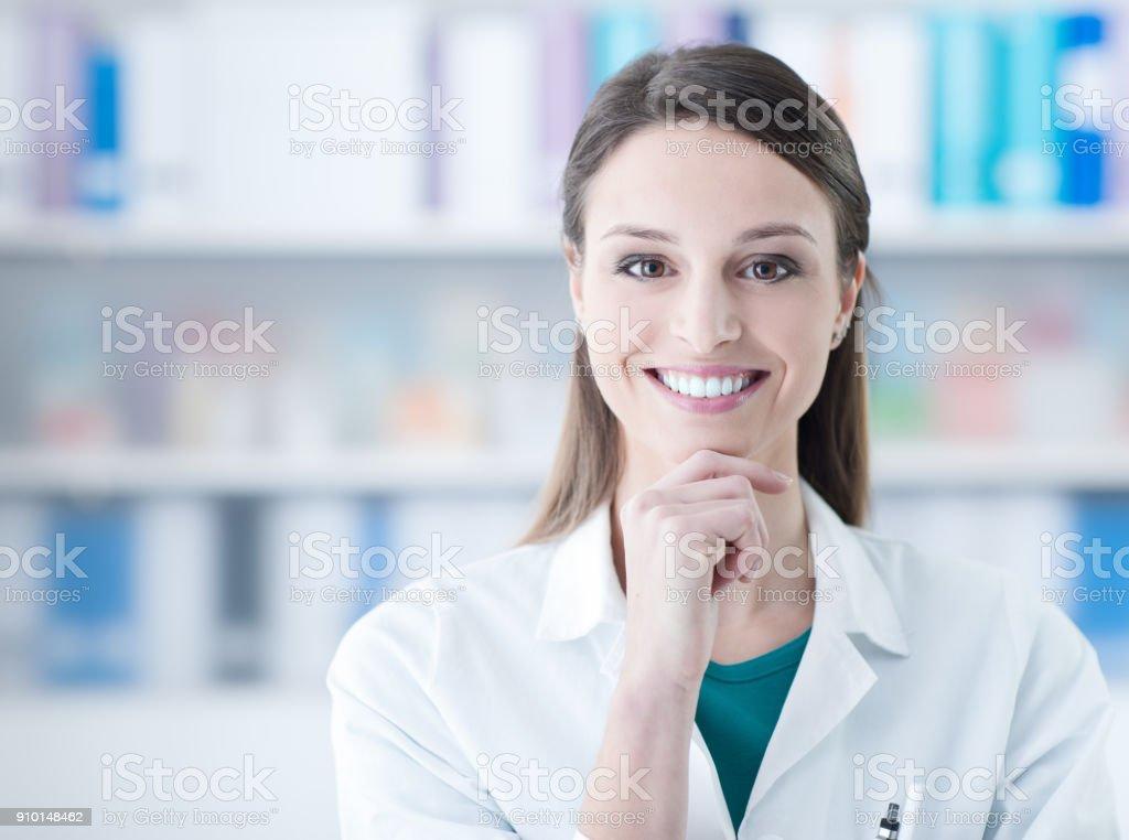 Confident female doctor stock photo