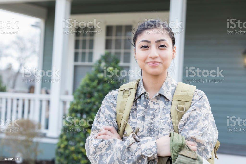 Confident female soldier stock photo