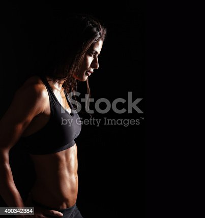 istock Confident fitness woman in sports clothing 490342384