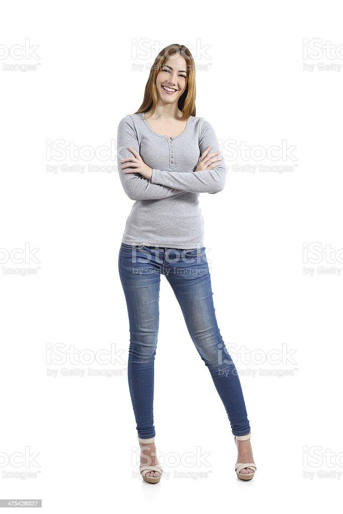 Confiant complet du corps d'une femme heureuse Décontracté - Photo