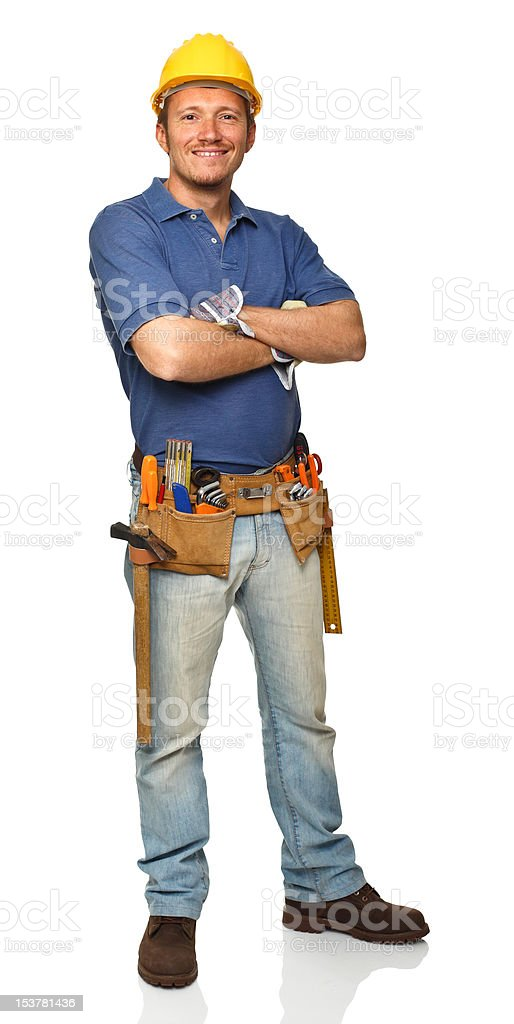 confident handyman portrait stock photo