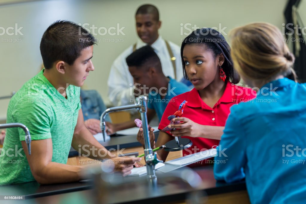 Confident high school students work together in biology lab royalty-free stock photo