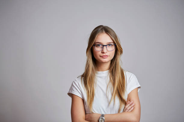 Confident in glasses stock photo