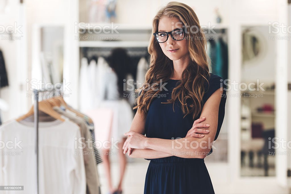 Confident in her business. stock photo