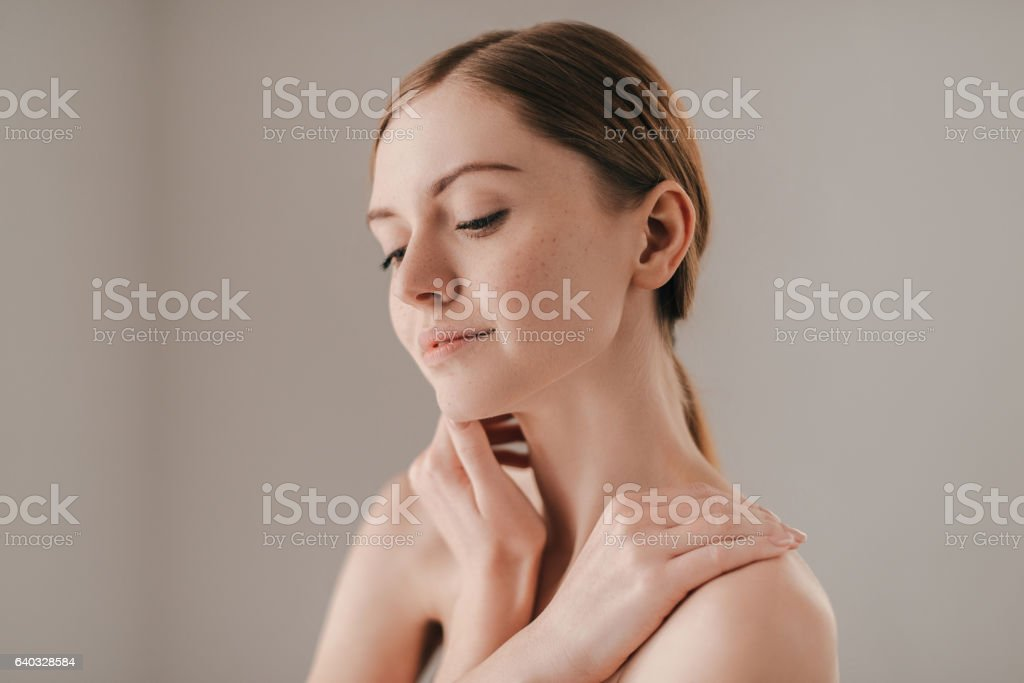Confident in her skin. stock photo