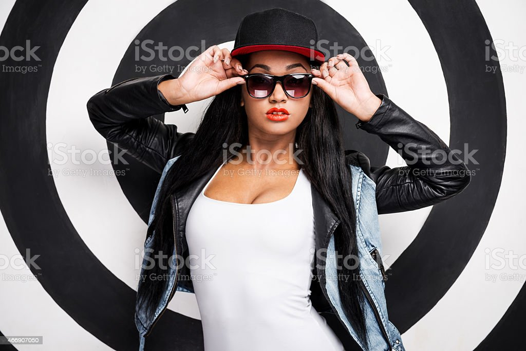 Confident in her style. stock photo