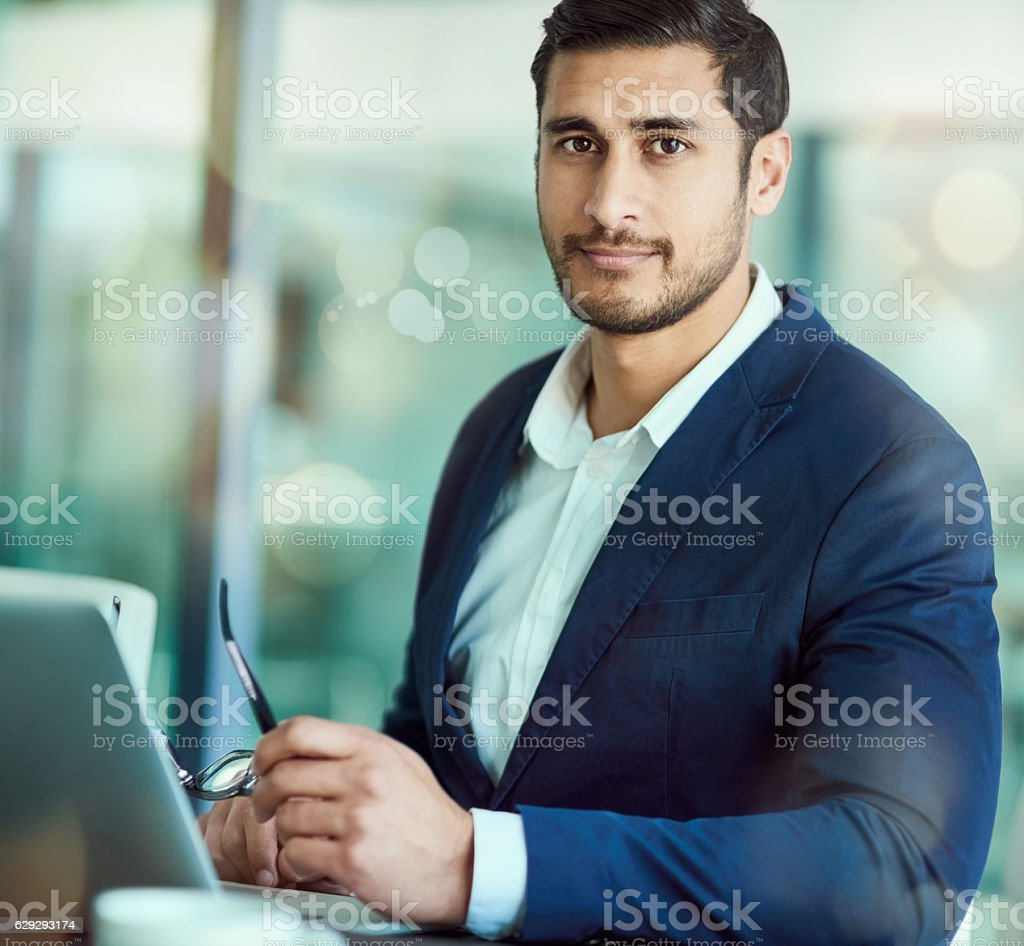 Confident in his business acumen stock photo