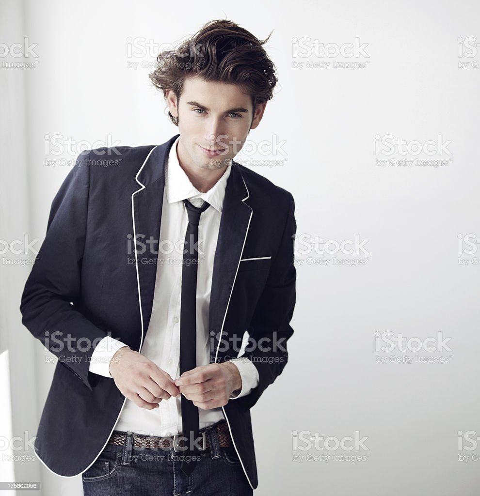 Confident in his sense of style stock photo