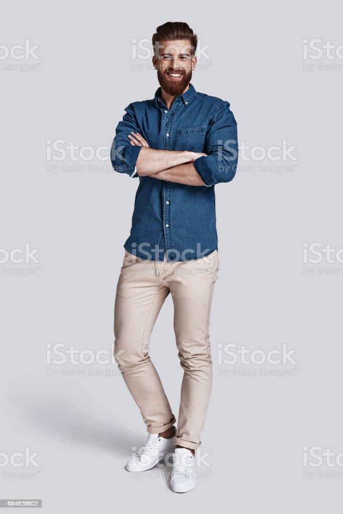 Confident in his style. stock photo