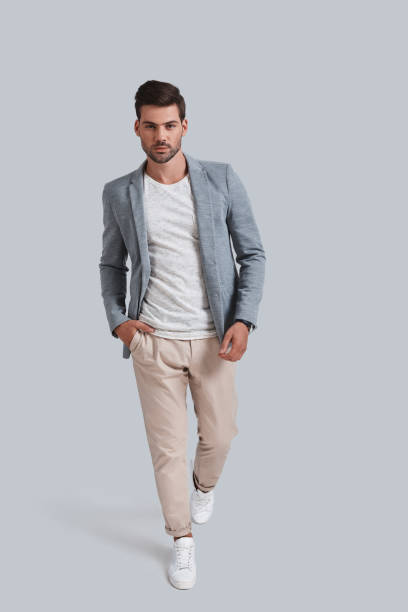 confident in his style. - preppy fashion stock photos and pictures