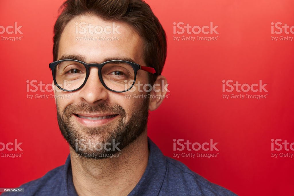 Confident in specs stock photo