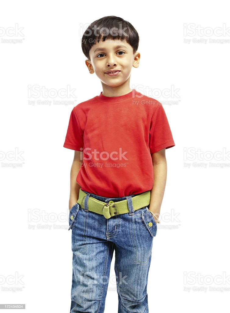 Confident Indian Boy with Hands in Pockets Isolated on White royalty-free stock photo