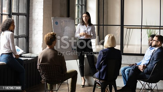 Confident lady business trainer coach leader give flip chart presentation consulting clients teaching employees training team people speaking explaining strategy at marketing workshop concept