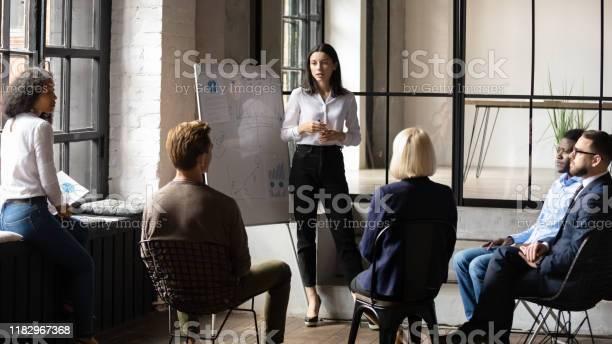 Confident lady business trainer coach give flip chart presentation picture id1182967368?b=1&k=6&m=1182967368&s=612x612&h=pus40zdbd2fht4bn mpdvbovsn5cvh pfze4qttvkhk=