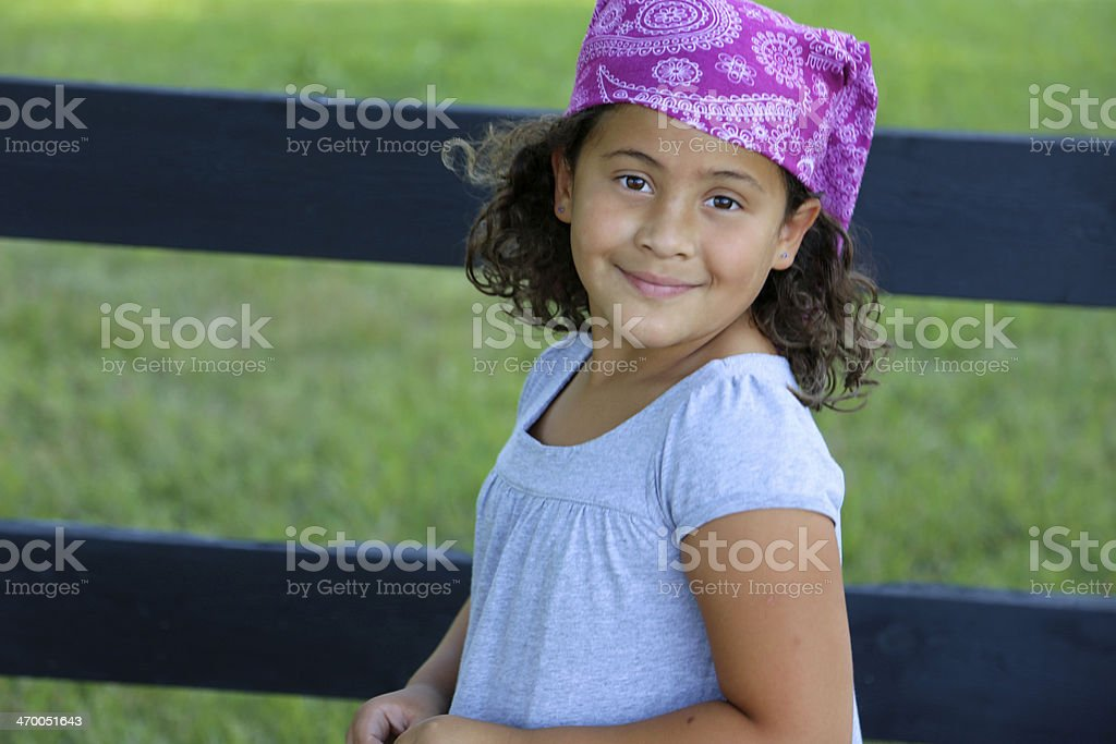 Confident latina girl outside looking at camera royalty-free stock photo