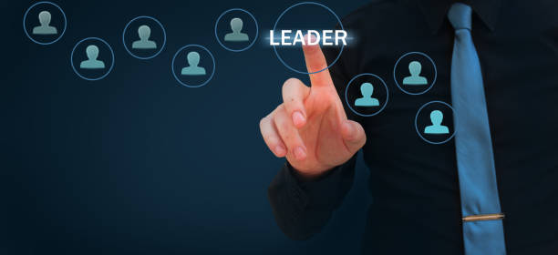confident leader, ceo and leadership concept. motivation and team work concept- businessman pointing finger on virtual screen - tiping point imagens e fotografias de stock