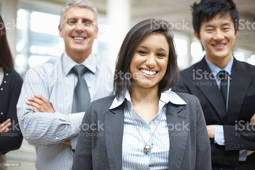 Confident leader with team royalty-free stock photo
