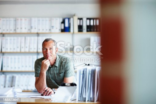Portrait of a confident male architect working on a new project