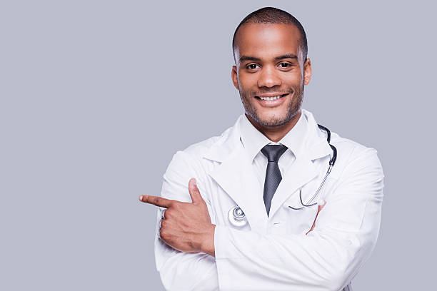 Confident male doctor. stock photo