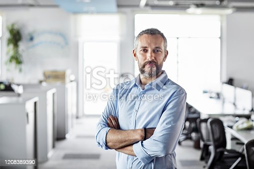 Confident male professional with arms crossed at workplace. Portrait of bearded mature businessman. Entrepreneur is standing at office.