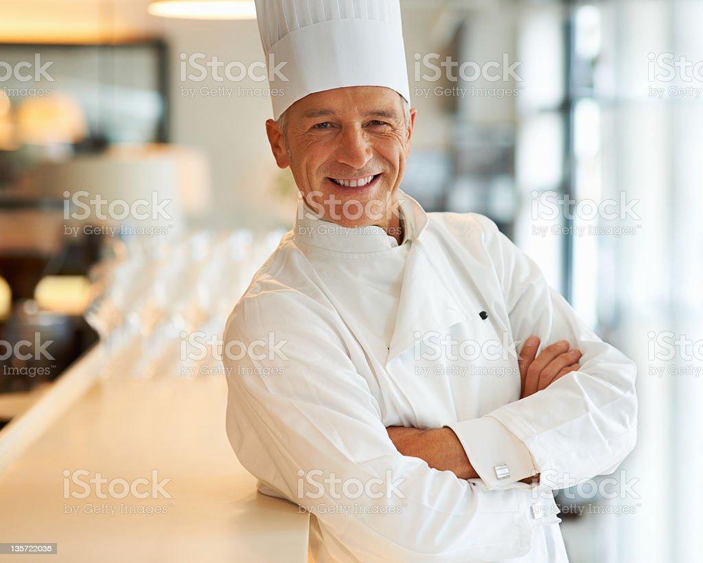 Confident man of cuisine stock photo