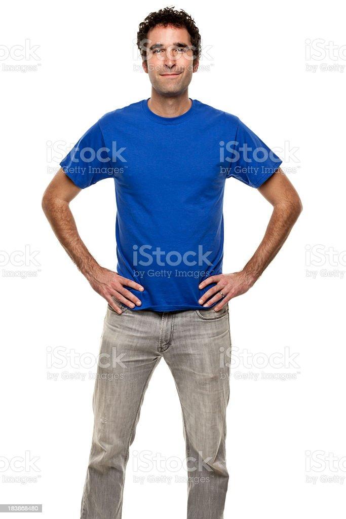 Confident Man Posing Three Quarter Portrait stock photo