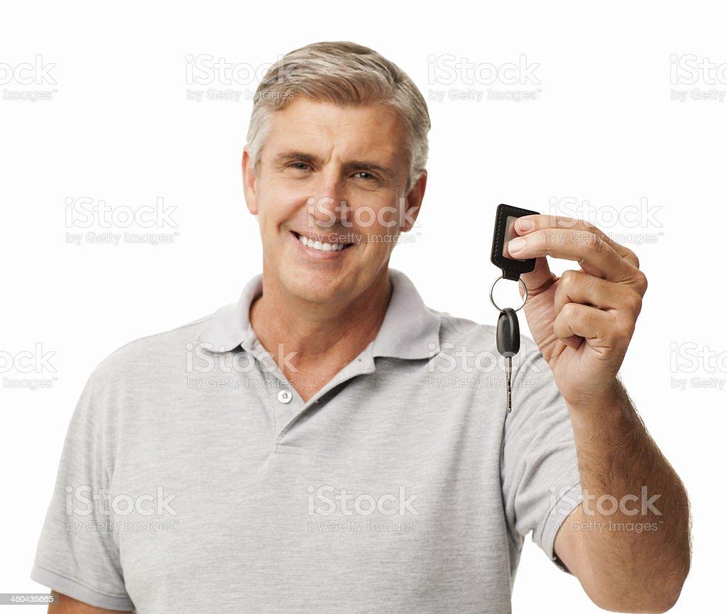 Confident Man Showing New Car Key stock photo