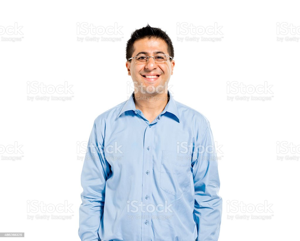 Confident Man Standing and Smiling stock photo