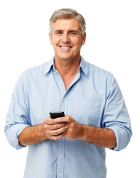 Zuversichtlich Mann mit Smart Phone – Foto